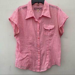 Guess Pink Striped Cotton Button Down Shirt M